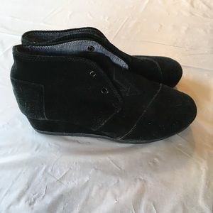 TOMS Black Suede Small Wedge Bootie